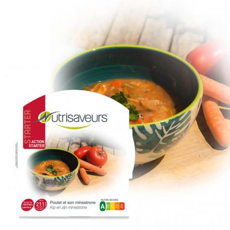 Piatto proteico Starter Minestrone zuppa di verdure pollo riso konjac Nutrisaveurs