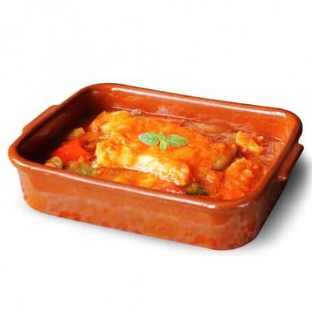 Merluzzo al sugo di pomodoro e verdure