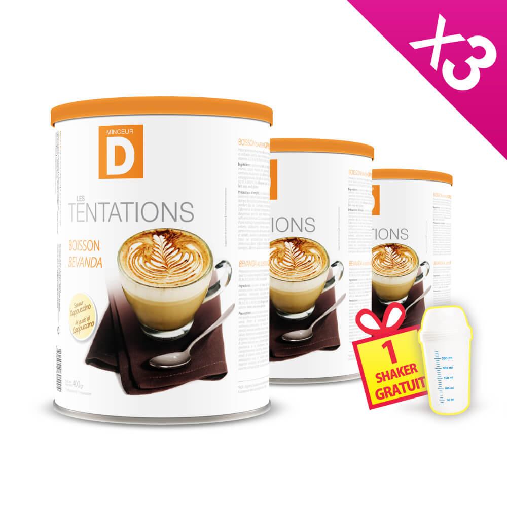 Bevanda proteica al Cappuccino in barattolo 400g MinceurD - Lotto da 3