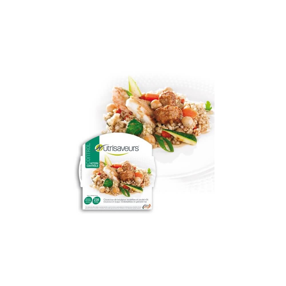 Piatto Proteico Cuscus di bulgur, polpette e pollo arrosto Nutrisaveurs